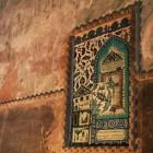 壁の片隅にあった小さいタイル画